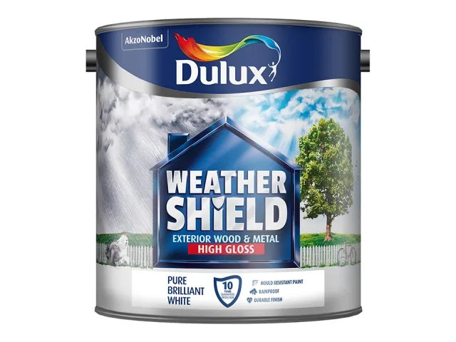Dulux Weathershield Exterior Wood and Metal High Gloss Pure Brilliant White Paint 2.5 Litres