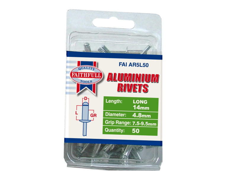 Faithfull Aluminium Rivets 4.8 x 14mm Long Pre-Pack of 50