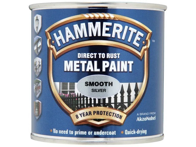 Hammerite Metal Smooth Silver 250ml 5084894