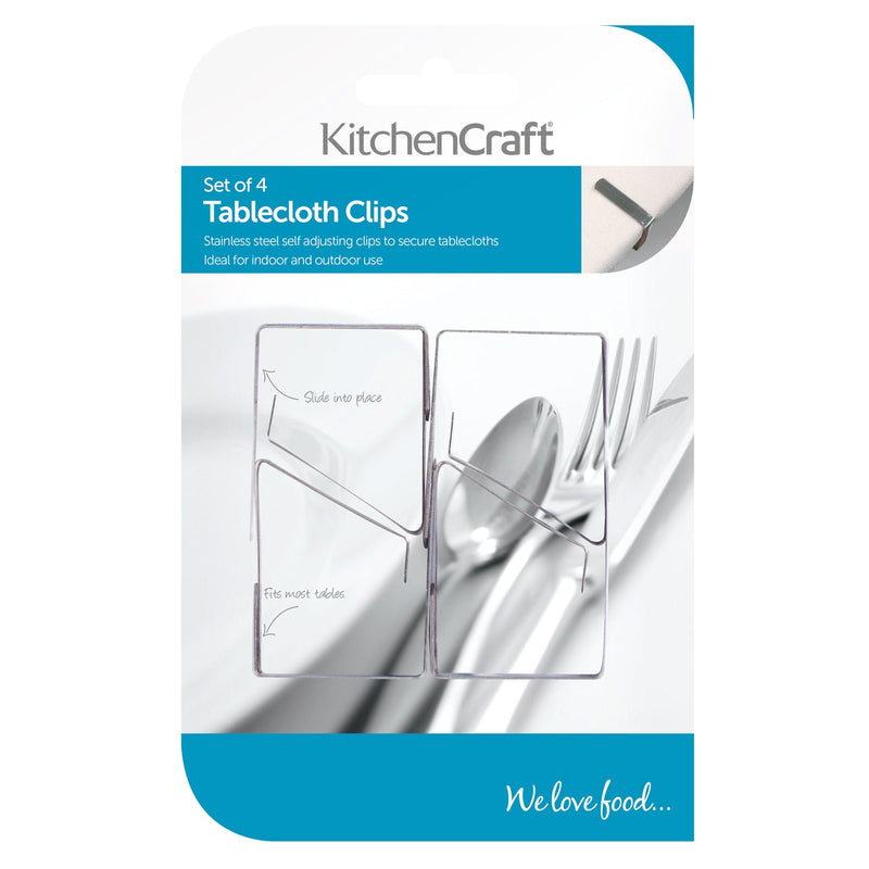KitchenCraft Set of 4 Stainless Steel Table Cloth Clips