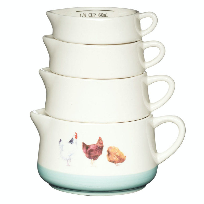 KitchenCraft Apple Farm Set of Four Stoneware Measuring Cups