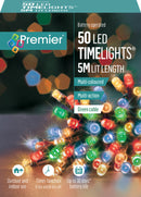 Premier LB112382M 50 Multi-Coloured Multi-Action LED Battery Operated Time Lights