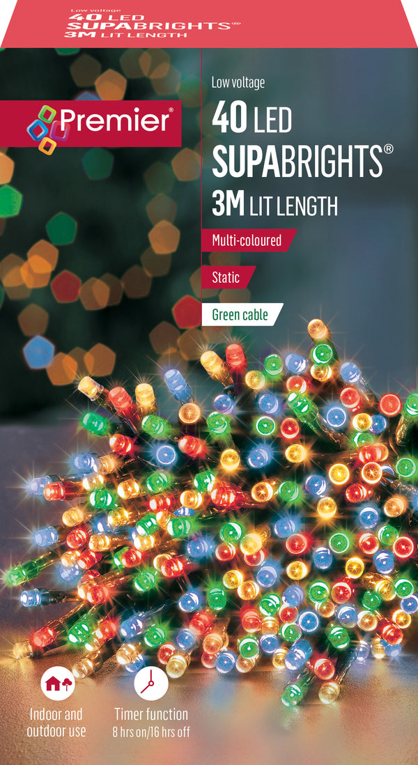 Premier LV178499M 3 Metre Static Supabrights 40 LEDs Multi Coloured
