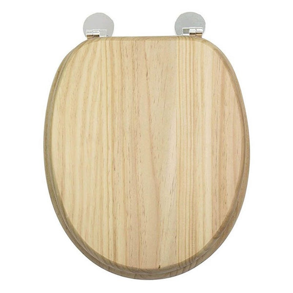 Mark Vitow TS191 Solid Wood Toilet Seat in Natural Pine with Chrome Hinges