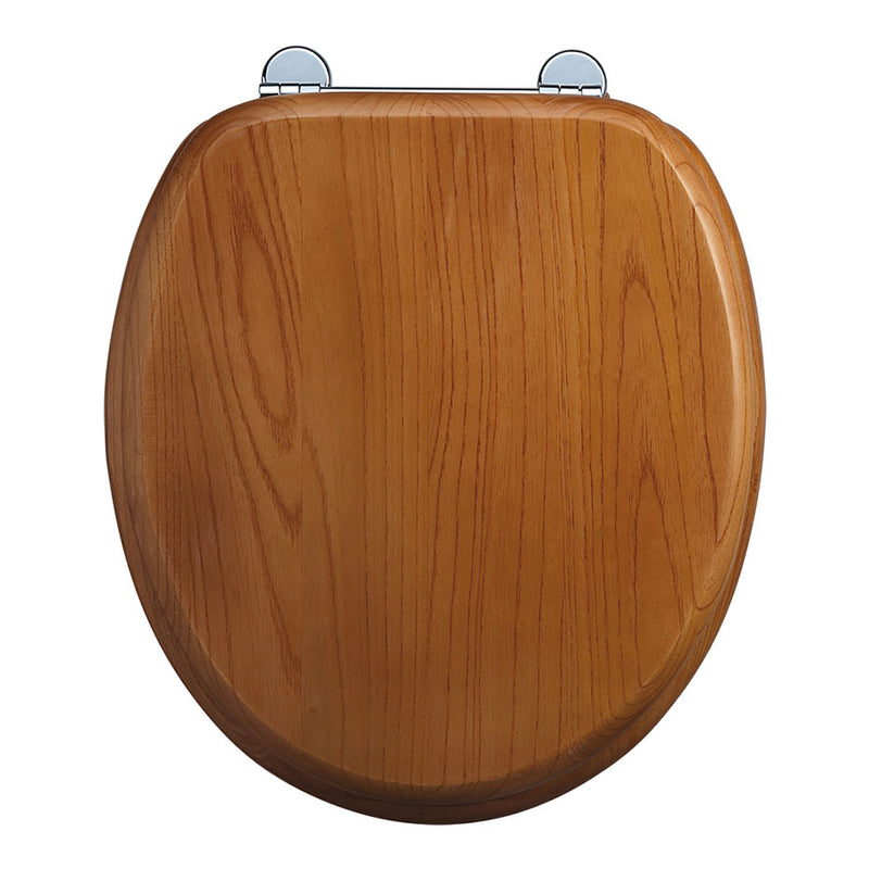 Mark Vitow TS201 Solid Wood Toilet Seat in Antique Pine with Chrome Hinges