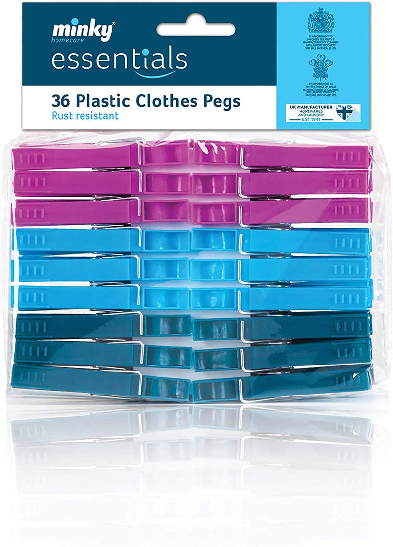 Minky Essentials 36 Plastic Clothes Pegs