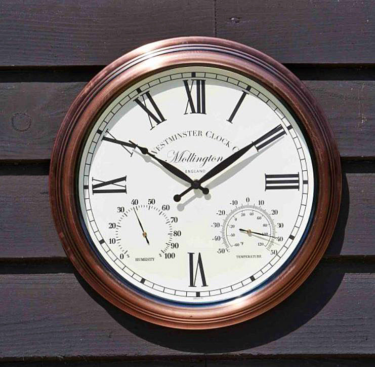 Outside In Designs Mollington Wall Clock & Thermometer 15 Inches 5062010