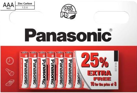 Panasonic AAA Zinc Carbon Battery - Pack of 10