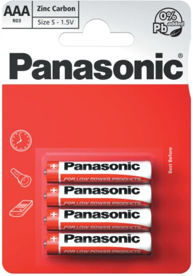 Panasonic AAA Zinc Carbon Battery - Pack of 4
