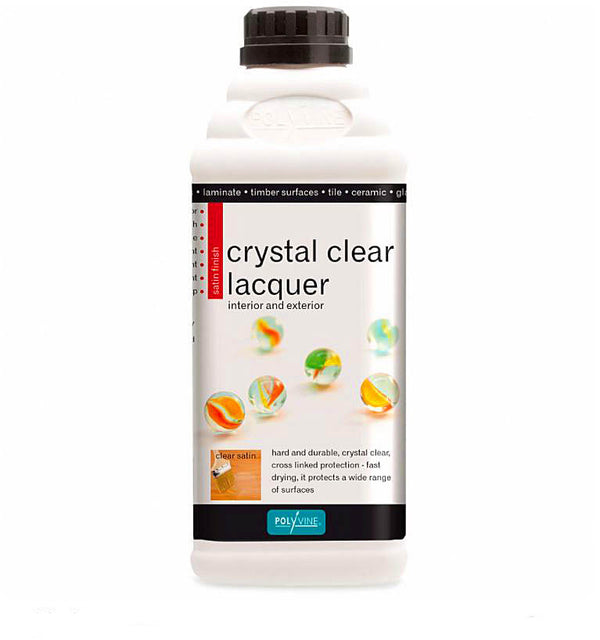 Polyvine Crystal Clear Lacquer Clear Satin Finish 1 Litre
