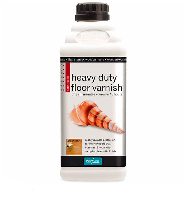 Polyvine Heavy Duty Floor Varnish Clear Satin Finish 1 Litre