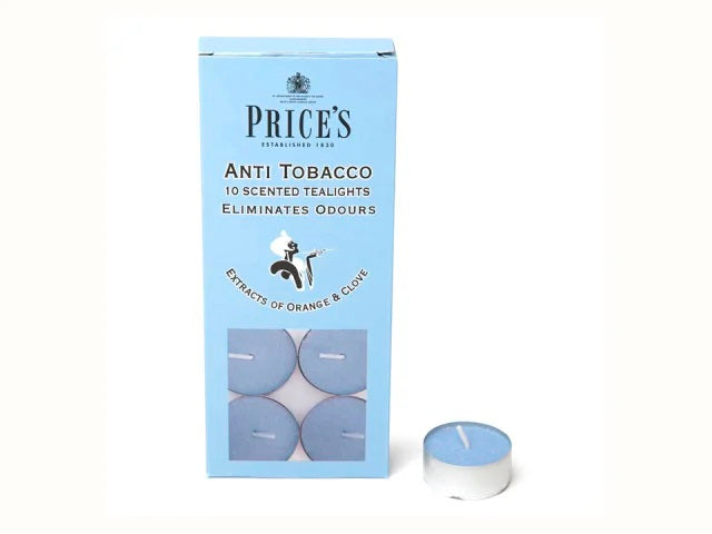 Prices Anti Tobacco Blue Scented Tealights Pack of 10 FR151016