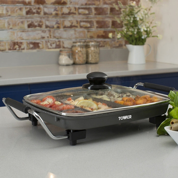 Tower Multi Purpose 5 Section Electric Frying Pan With Non-Stick Cerastone Coating