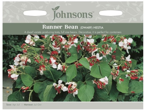 Johnsons Phaseolus coccineus - Runner Bean Dwarf Hestia