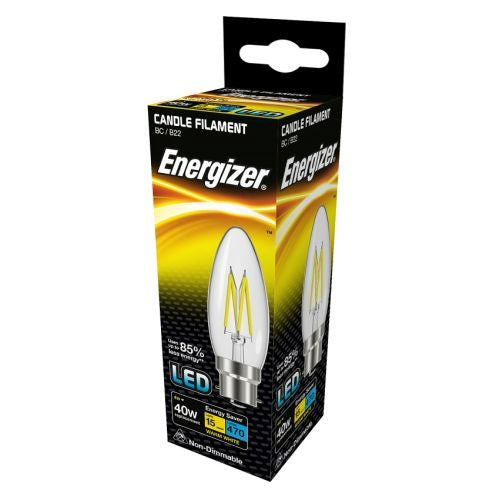 Energizer Filament LED 4W=40W Candle Large Bayonet Cap Warm White Clear Light Bulb BC-B22