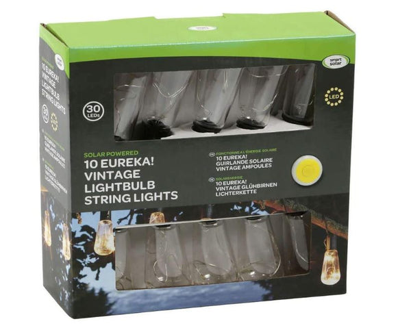 Smart Garden Products 1060265 Eureka! Vintage Lightbulb Solar String Lights 10 Bulbs