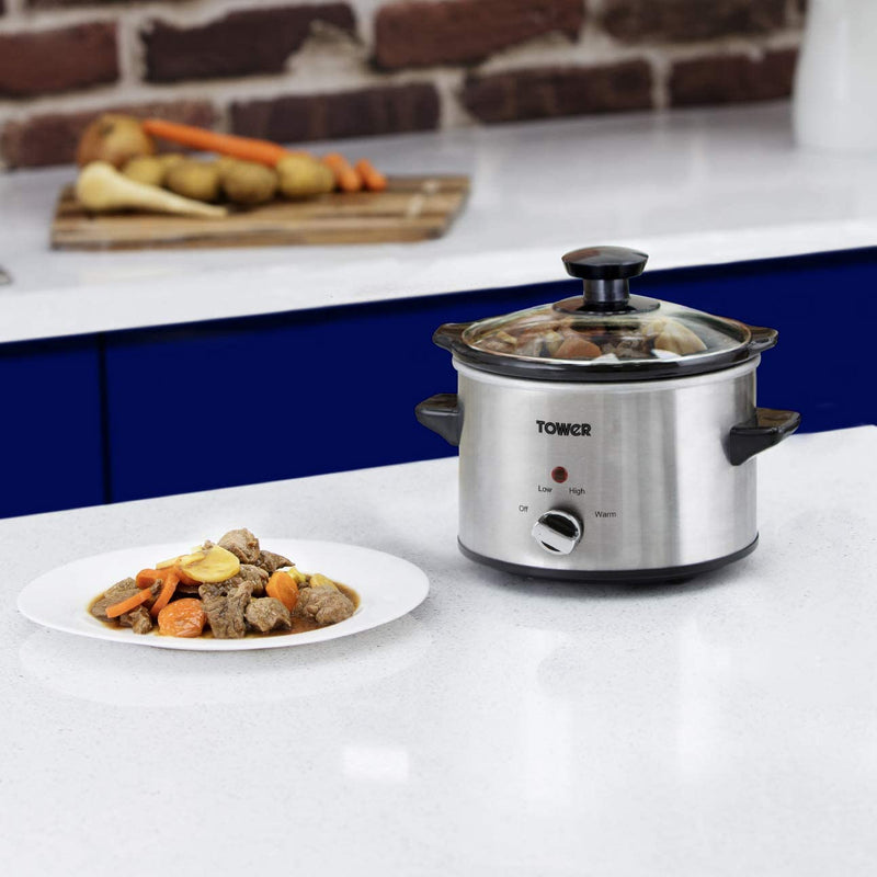 Tower Stainless Steel 1.5 Litre Slow Cooker
