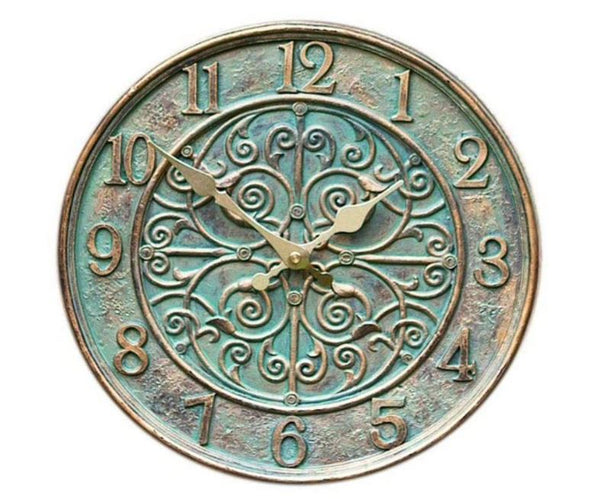 Outside In Designs 12″ Verdant Wall Clock Green & Gold 51600063