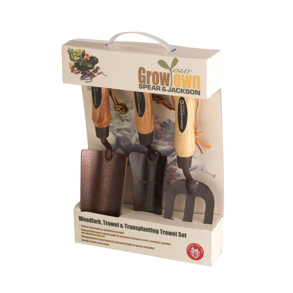 Spear and Jackson ELEMENTS3PS Elements Trowel, Weed Fork and Transplanting Trowel Set