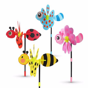2pcs/set Colorful 3D Lovely Handmade Wind Spinner Windmill Toys For Baby Insect Decoration Garden Yard Outdoor Classic Toy Kids - AFH Home Decore