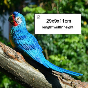 Resin Parrot Statue Wall Mounted DIY Outdoor Garden Tree Decoration Animal Sculpture For Home Office Garden Decor Ornament - AFH Home Decore