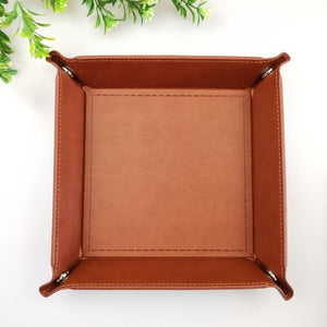 Foldable PU Leather Sundries Storage Tray Dice Key Wallet Coin Box Office Desktop Storage Box Trays Decorative Storage Organizer - AFH Home Decore