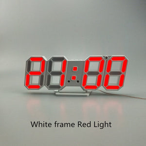 3D LED Wall Clock Modern Design Digital Table Clock Alarm Nightlight Saat reloj de pared Watch For Home Living Room Decoration - AFH Home Decore
