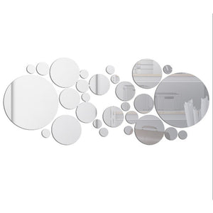 Geometric Circle 3D Stereo Removable Mirror Wall Sticker Home Background Decoration Home Decoration Accessories Round Mirror - AFH Home Decore