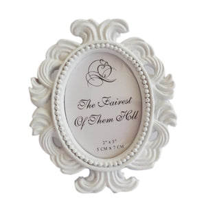 Floral Frame Round Frame Picture Frame Holder Wedding Home Decor Elliptical Baroque small photo frame wedding gift ornaments - AFH Home Decore