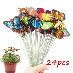 10PCS/Lot Artificial Butterfly Garden Decorations Simulation Butterfly Stakes Yard Plant Lawn Decor Fake Butterefly Random Colo - AFH Home Decore
