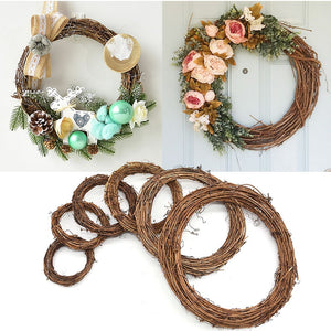 Wedding Decoration Wreath Natural Rattan Wreath Garland DIY Crafts Decor For Home Door Grand Tree Christmas Gift Party Ornament - AFH Home Decore