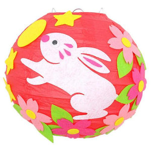 LED 20cm Cartoon Animals Lantern Chinese Round Paper Lantern Child DIY Handcrafts for Birthday Party Wedding Decoration Candle - AFH Home Decore