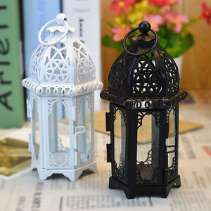 High Quality Candle Holder European Style Iron Glass Candlestick Lantern Candles Lantern Transparent Glass Free Shipping - AFH Home Decore