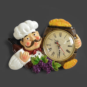 Resin Chef Cute Wall Clock Home Watch Bathroom Kitchen Clock vintage Wall Watches Home Decor Wall Clock Modern Design - AFH Home Decore
