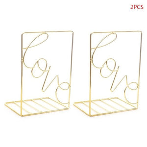 2Pcs/Pair Creative Love Shaped Metal Bookends Desk Storage Holder Shelf Book Organizer Stand - AFH Home Decore