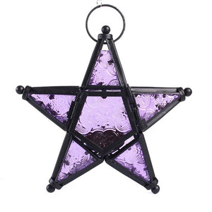Hanging Moroccan Lanterns Metal Star Glass Lantern Hanging Candle Holder Home Decoration Wedding Birthday Party Christmas Gift - AFH Home Decore