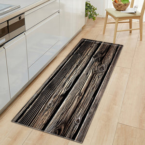 Nordic Kitchen Mat Bedroom Entrance Doormat Home Hallway Floor Decoration Living Room Carpet Wood grain Bathroom Anti-Slip Rug - AFH Home Decore