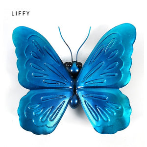 Blue Metal Butterfly Wall Decoration for Garden Decoration Animals Outdoor Ornaments for Yard Statues - AFH Home Decore
