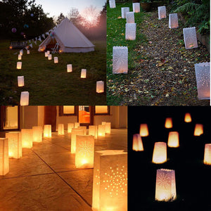 10pcs Festival Lantern Heart Tea light Holder Luminaria Paper Lantern Candle Bag for Wedding Party Home Decoration Supplies - AFH Home Decore
