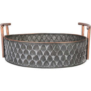 European handcrafted Vintage Fruit Bread Basket Round Antique metal trays with handles Retro Desk Kitchen Storage for Home Decor - AFH Home Decore