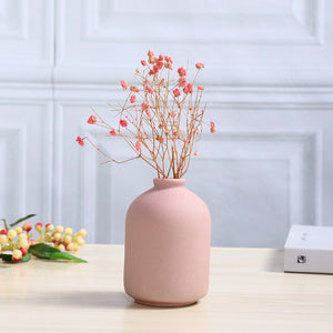 Matte Ceramic Flower Vase Retro European-style Desktop TV Cabinet Tea Table Decoration Grinded Water Culture Mini-Vases Crafts - AFH Home Decore
