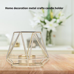 Ins Nordic Wrought Iron Geometric Candle Holders Romantic Dinner Candlestick Art Design Concept Outstanding Display Effect - AFH Home Decore