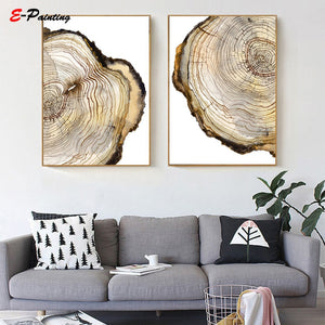 Modern Wall Art Tree Ring Printable Tree Stump Wood Slice Canvas Painting Poster Nordic Living Room Decoration Picture