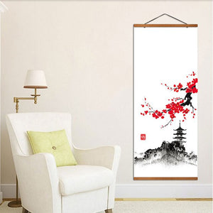 Japanese Landscape Wall Art Posters and Prints Hanging Scroll Canvas Painting With Solid Wood