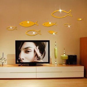 3D Fish DIY Shape Mirror Wall Decal Sticker Living Room Bedroom Home Office Decor(Gold)