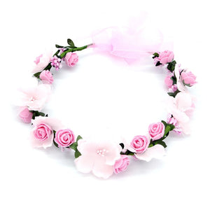Women Wedding Rose Artificial Flower garland Wreath headband and Wedding Hair Wreath Hair Band Ornaments Beach Wrape wreath gift