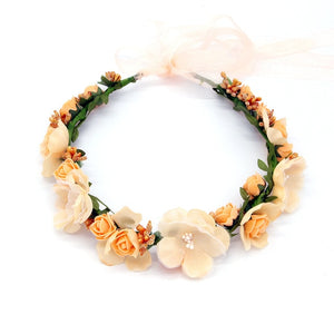 Women Wedding Rose Artificial Flower garland Wreath headband and Wedding Hair Wreath Hair Band Ornaments Beach Wrape wreath gift - AFH Home Decore