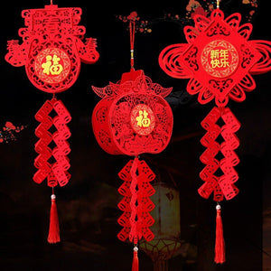 Chinese Red Lanterns Hanging Decorations For Chinese New Year Chinese Spring Festival Wedding Blessing Home Lampion Ornaments - AFH Home Decore