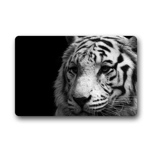 CHARMHOME Black and White Tiger Fashion Machine-washable Indoor/Outdoor Doormat Custom Door Mat Gate Pad - AFH Home Decore