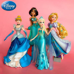 20CM Disney high end Aisha queen jasmine princess long hair princess Cinderella statue ornament handmade model cake decoration - AFH Home Decore